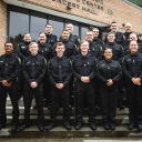 Appalachian Police Department Capt. K.C. Mitchell, far right in back row, and Detective Tina Dunn, far left in middle row, with the 2019 graduates of the Appalachian Police Academy — part of Appalachian State University's Appalachian Police Officer Development Program (APDP). Pictured, from front row to back row, left to right, are graduates Anthony Gibbs, of Wake Forest; Connor Malmstrom, of Concord; Brandon Southard, of Kernersville; John Sanders, of Durham; Abigail Rivera, of Durham; Haley Triplette, of
