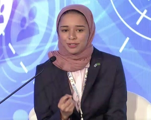 Razan Farhan Alaqil speaks at the MiSK-UNDP Youth Forum 2017, held in September in New York City.