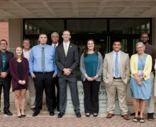 The summer 2017 App State SECU Public Fellows Internship cohort with university staff and employees of the Boone SECU branch.
