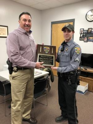 Cpl. Matt Taylor receiving award