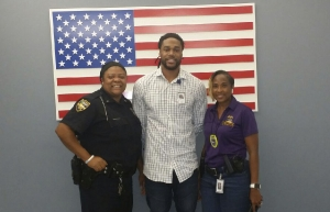 Demetrius McCray, center, poses with members of the Jacksonville, Florida, Sheriff's Office during his fall 2018 internship. McCray is graduating from Appalachian in December with a Bachelor of Science in criminal justice. Photo submitted
