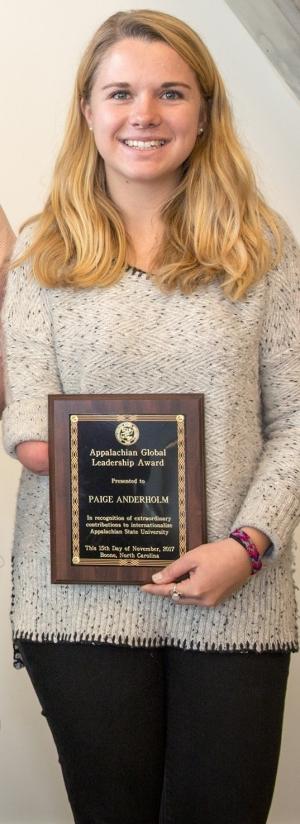 Paige Anderholm with Global Leadership Award