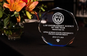 The inaugural Law Enforcement Agency of the Year Award presented to the Appalachian State University Police Department by the North Carolina Police Executives Association (NCPEA).