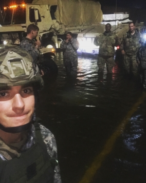 Nevin Darden, a junior criminal justice major at Appalachian from Newton, left in foreground, and other members of the North Carolina Army National Guard in a flooded area of Scotland County assist with Hurricane Florence emergency management services. Photo by Nevin Darden